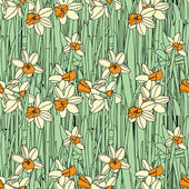 Elegance Seamless pattern with daffodils flowers — Stock Vector