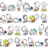 Vector seamless pattern of kids — Stock vektor