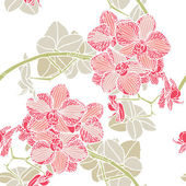 Seamless flower pattern with orchids — Stock Vector