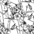 Seamless flower pattern, floral vector — ベクター素材ストック