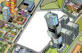 πολύχρωμο κτίριο αστικό — Stock vektor