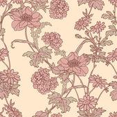 优雅无缝模式与鲜花康乃馨, — 图库矢量图片