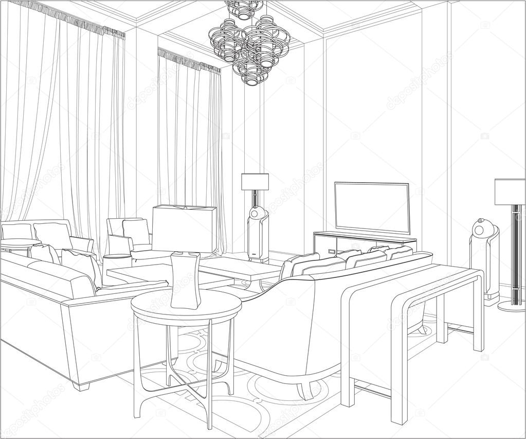 3d graphical drawing interior stock vector polina21 for Interior design drawings free download