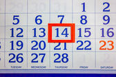 14 o número no calendário — Foto Stock