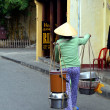 Stock Photo: Vietnamese Street Hawker at Hoi with Non LHat
