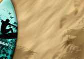 Surfboards on sand — Stock Photo