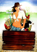 Farm girl poster — Stock Photo