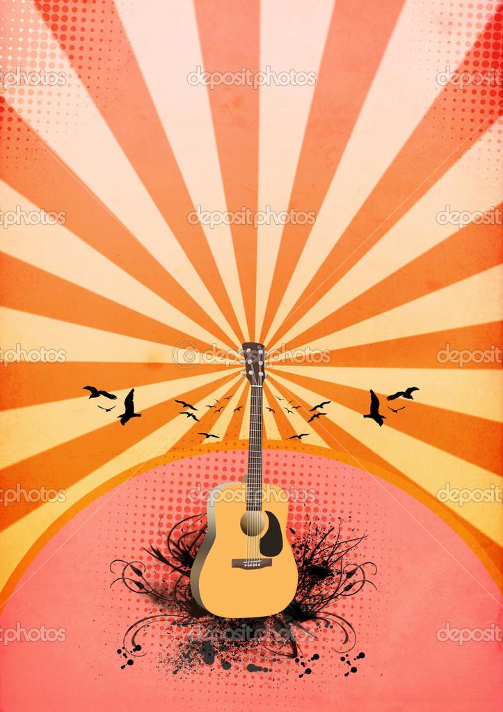 与空间的抽象色彩吉他音乐会海报背景– 图库图片
