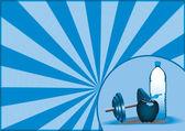 苹果、 水、 健身背景 — 图库照片
