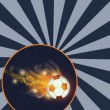 Flying flaming soccer ball — Stock Photo