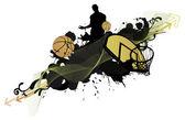 Basketball man and ball — Stock Photo