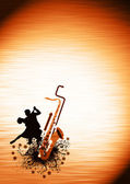 Couples and saxophone backgrond — Stock Photo