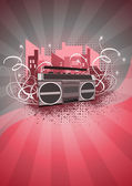 Ghetto blaster background — 图库照片