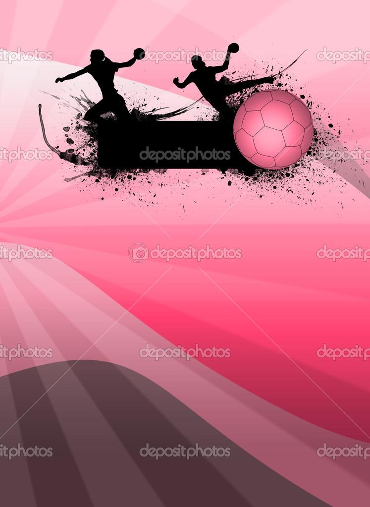 女孩手球运动海报背景与空间 — 照片作者 istone_hun