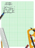 Family house project plan background — Stock Photo
