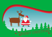 Santa and rudolph christmas background — Stock Photo