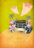 Retro summer party background — Stock Photo