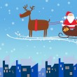 Santa and reindeer christmas background — Stock Photo