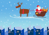 Papai Noel e renas fundo Natal — Fotografia Stock