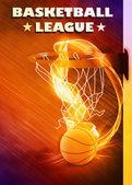 Baketball hoop and ball background — Stock Photo