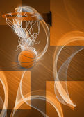 Baketball hoop and ball background — Stock Photo