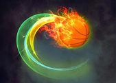 Sfondo di palla baketball fuoco — Foto Stock