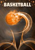 Baketball fire ball background — Stock Photo