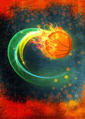 Baketball fire ball background — Stock Photo