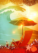 Sunbathing in beach background — Stock Photo