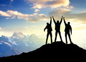 Team on the peak of mountain — Stock Photo