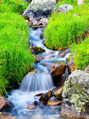 River amongst stone in valley amongst mountains — Stock Photo