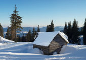 Domy v horském údolí. — Stock fotografie