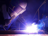 Welder on factory. — Stock Photo