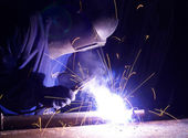 Welding and bright sparks — Stock Photo