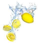 Immersion of lemon — Stock Photo