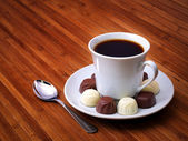 Coffee and candies — Stock Photo