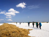Tourists team on the snow plain — Stock Photo