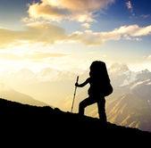 Toeristische op berg — Stockfoto