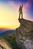 Winner on the mountain top — Stock Photo