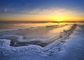 Sunset in the ice land — Stock Photo