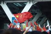 Chiński flaga i tłum — Zdjęcie stockowe