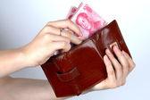 拿中国的钱和钱包 — 图库照片