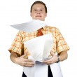 Businessman throwing documents — Stock Photo