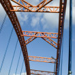 Modern orange bridge — Stock Photo #21791635