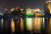 Night cityscape with Haohe river — Stock Photo