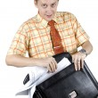 Throwing documents from suitcase — Stock Photo