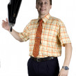 Businessman throwing suitcase — Stock Photo