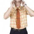 Office clerk putting glasses — Stock Photo