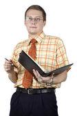 Businessman making notes — Stock Photo