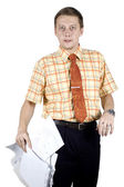 Office clerk with documents — Stock Photo
